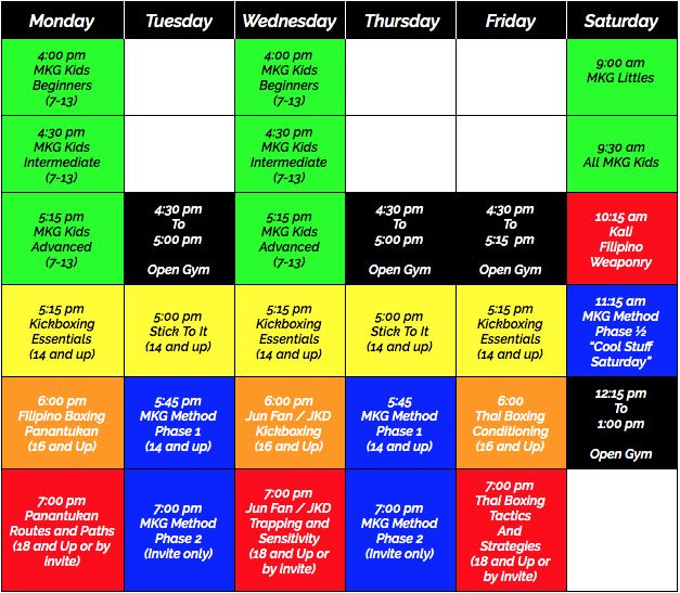 New Schedule / New Classes